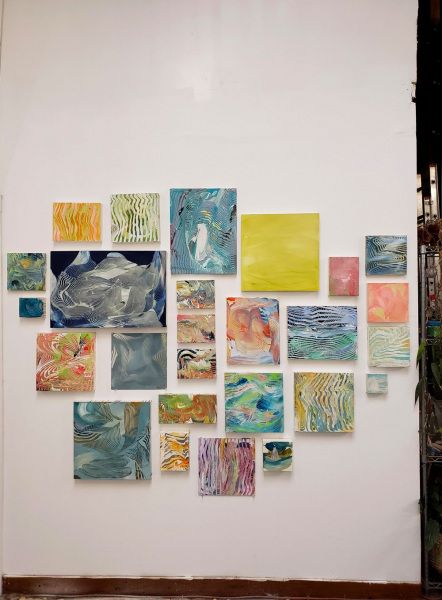 Small paintings, wall installation, Fall 2018